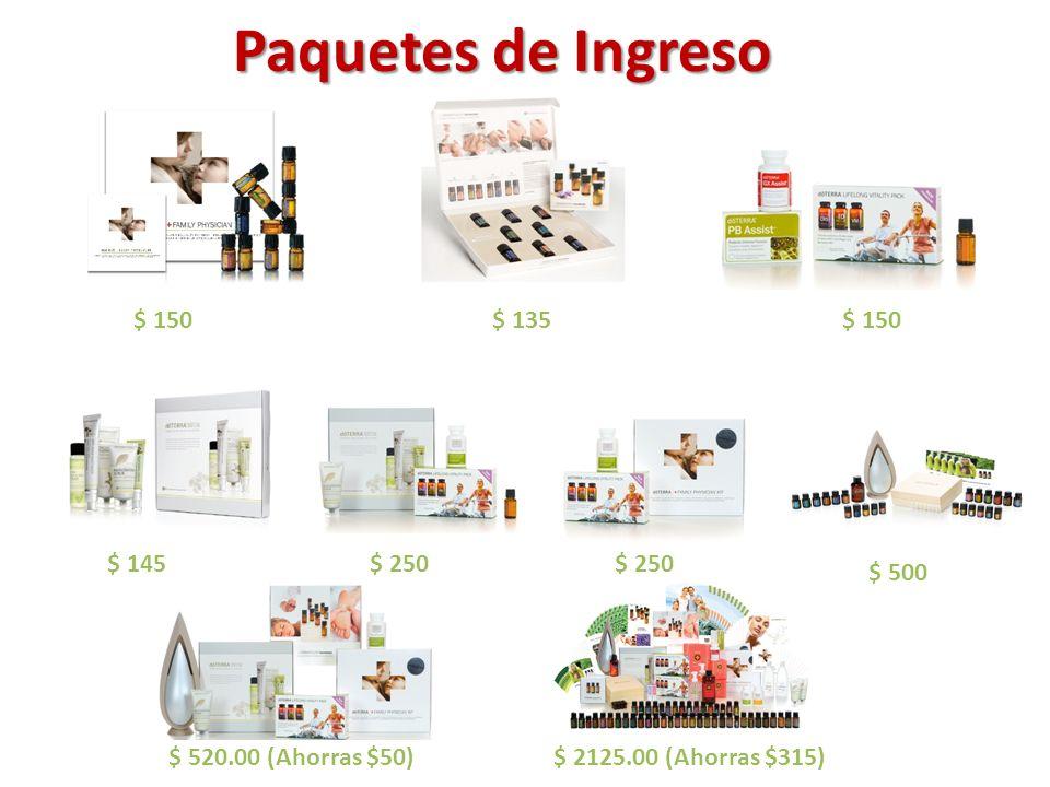 Paquetes de Ingreso $500 $ 150 $ 135 $ 150 $ 145 $ 250 $ 250 $ 500