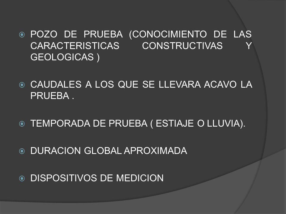 POZO DE PRUEBA (CONOCIMIENTO DE LAS CARACTERISTICAS CONSTRUCTIVAS Y GEOLOGICAS )