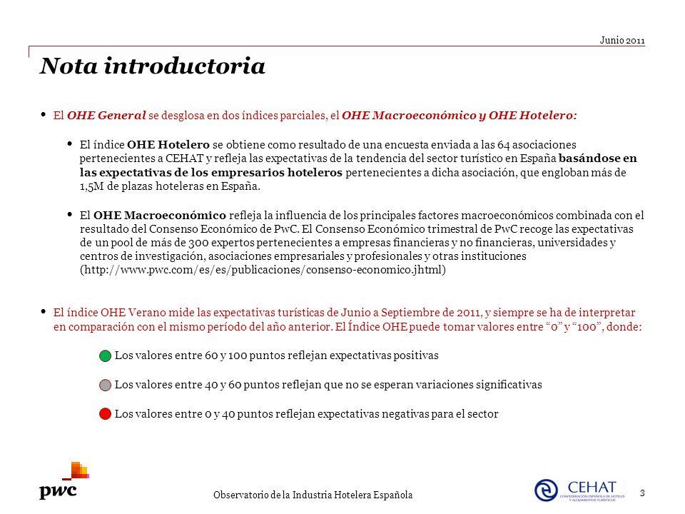 Junio 2011 Nota introductoria. El OHE General se desglosa en dos índices parciales, el OHE Macroeconómico y OHE Hotelero: