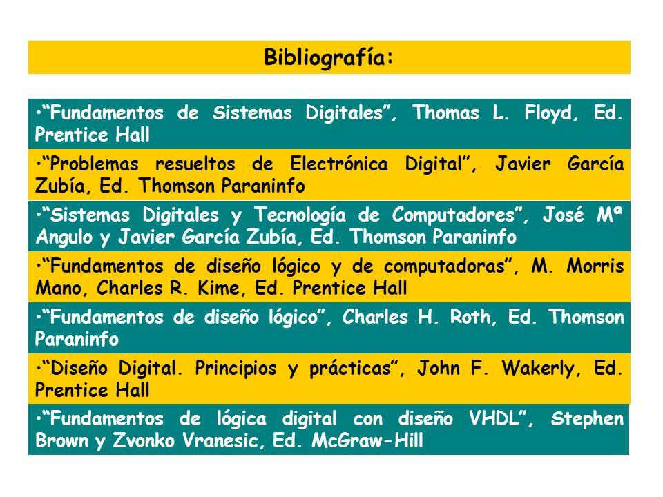 Bibliografía: Fundamentos de Sistemas Digitales , Thomas L. Floyd, Ed. Prentice Hall.