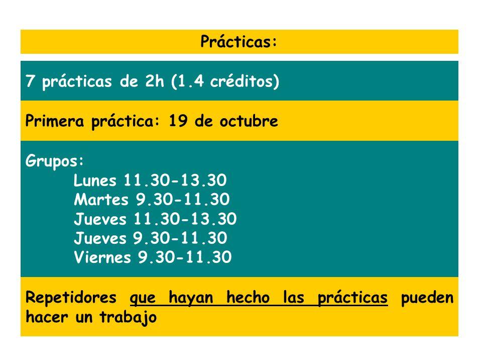 Prácticas:7 prácticas de 2h (1.4 créditos) Primera práctica: 19 de octubre. Grupos: Lunes 11.30-13.30.