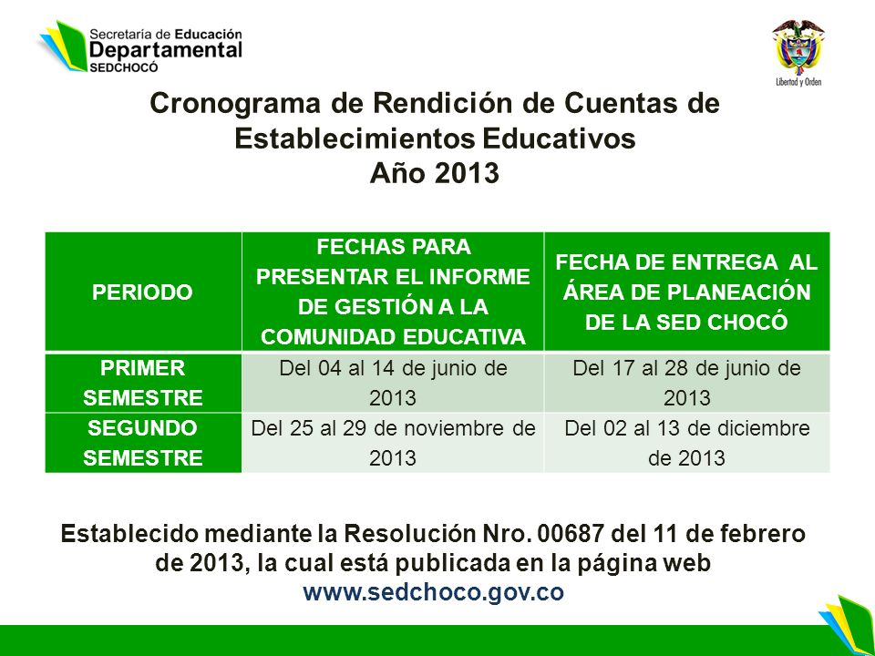 Cronograma de Rendición de Cuentas de Establecimientos Educativos