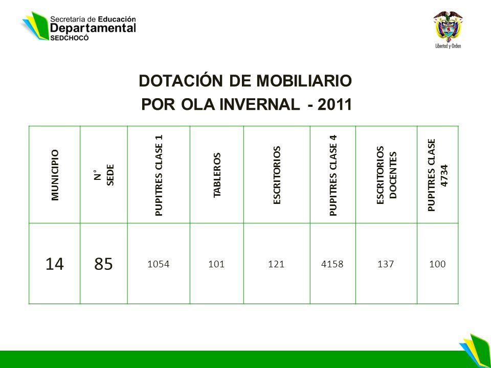 DOTACIÓN DE MOBILIARIO POR OLA INVERNAL - 2011