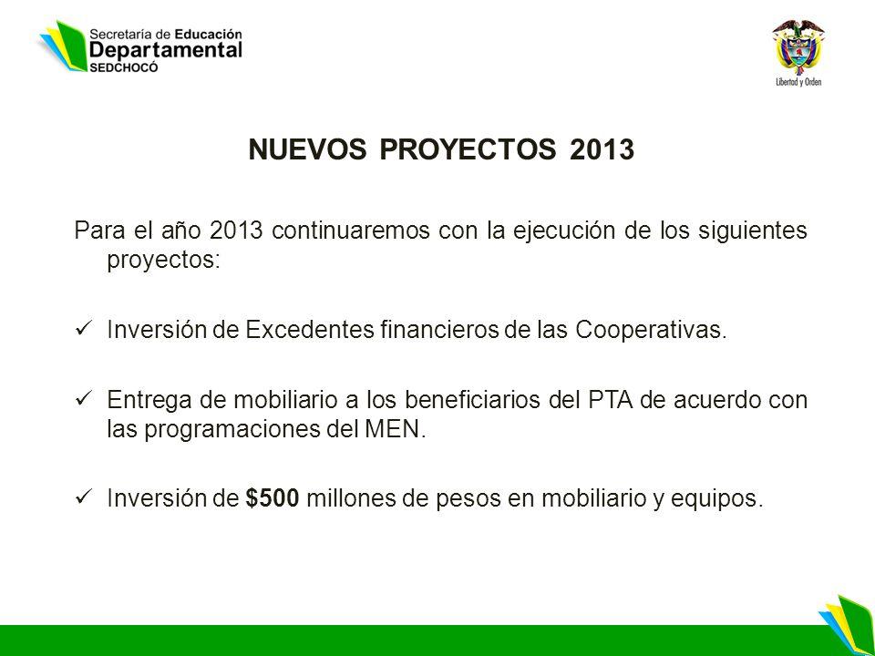 NUEVOS PROYECTOS 2013 Para el año 2013 continuaremos con la ejecución de los siguientes proyectos: