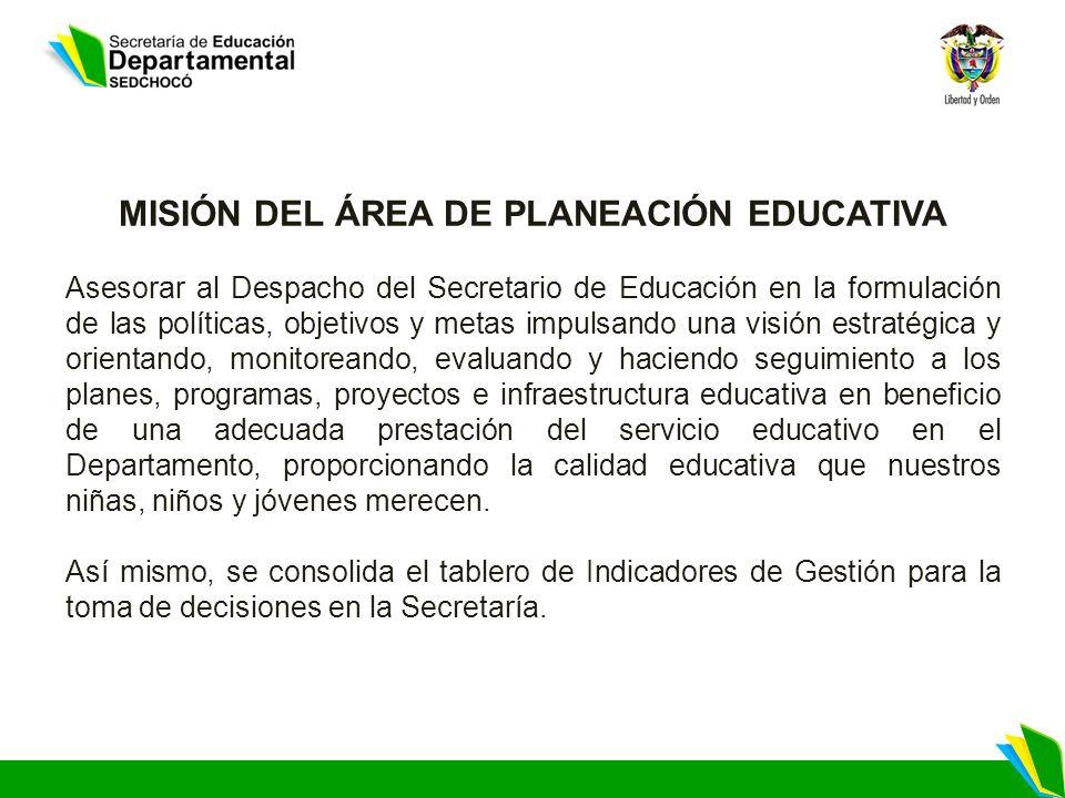 MISIÓN DEL ÁREA DE PLANEACIÓN EDUCATIVA