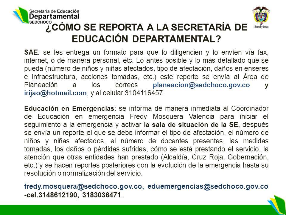 ¿CÓMO SE REPORTA A LA SECRETARÍA DE EDUCACIÓN DEPARTAMENTAL