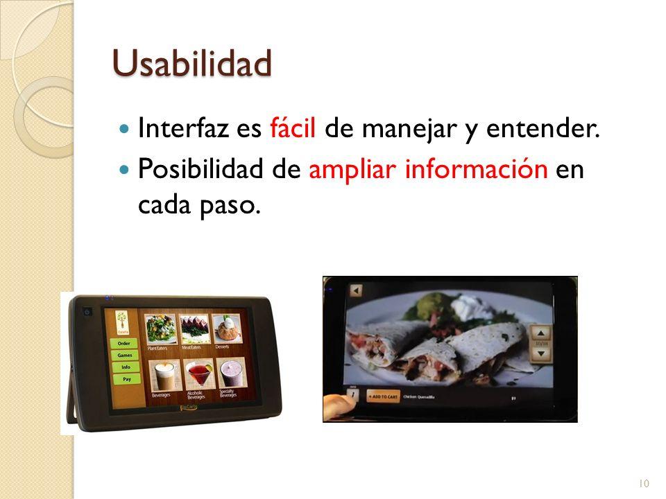 Usabilidad Interfaz es fácil de manejar y entender.