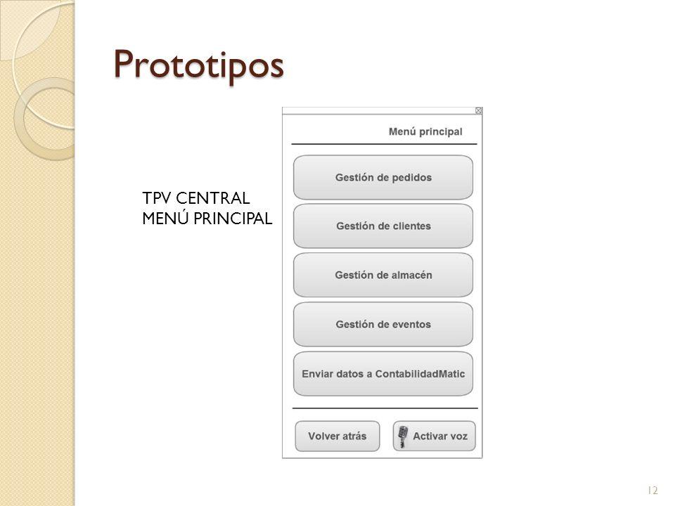 Prototipos TPV CENTRAL MENÚ PRINCIPAL