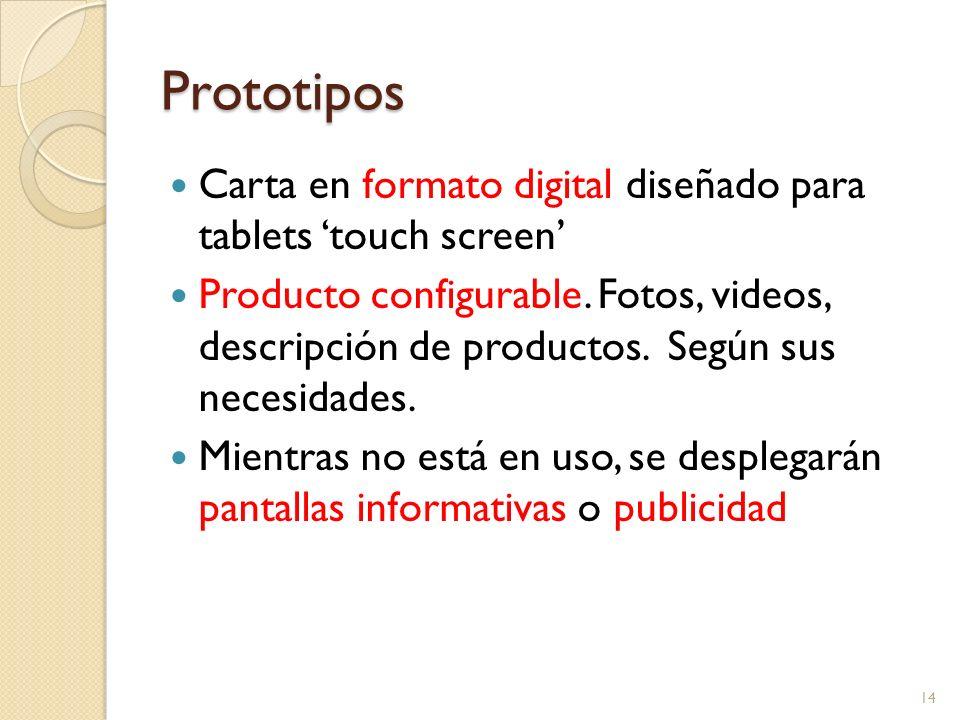 Prototipos Carta en formato digital diseñado para tablets 'touch screen'