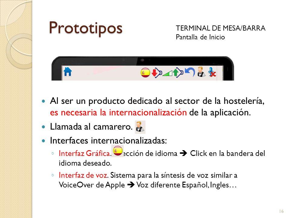 Prototipos TERMINAL DE MESA/BARRA. Pantalla de Inicio.