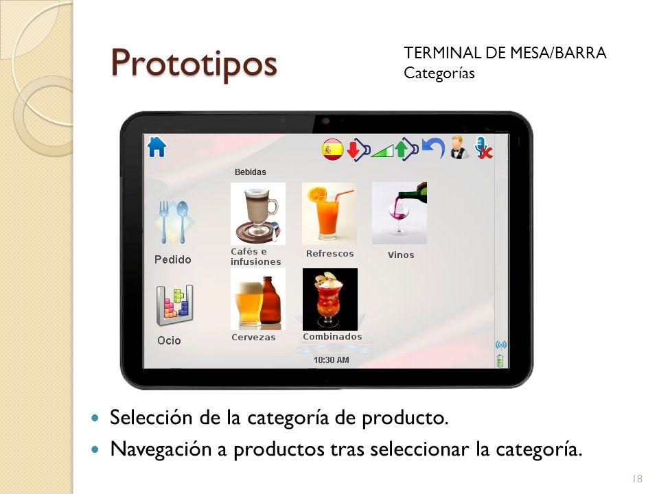 Prototipos Selección de la categoría de producto.