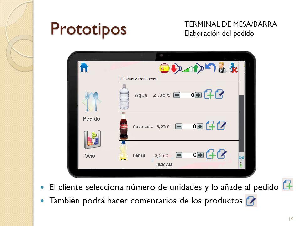 Prototipos TERMINAL DE MESA/BARRA. Elaboración del pedido. El cliente selecciona número de unidades y lo añade al pedido.
