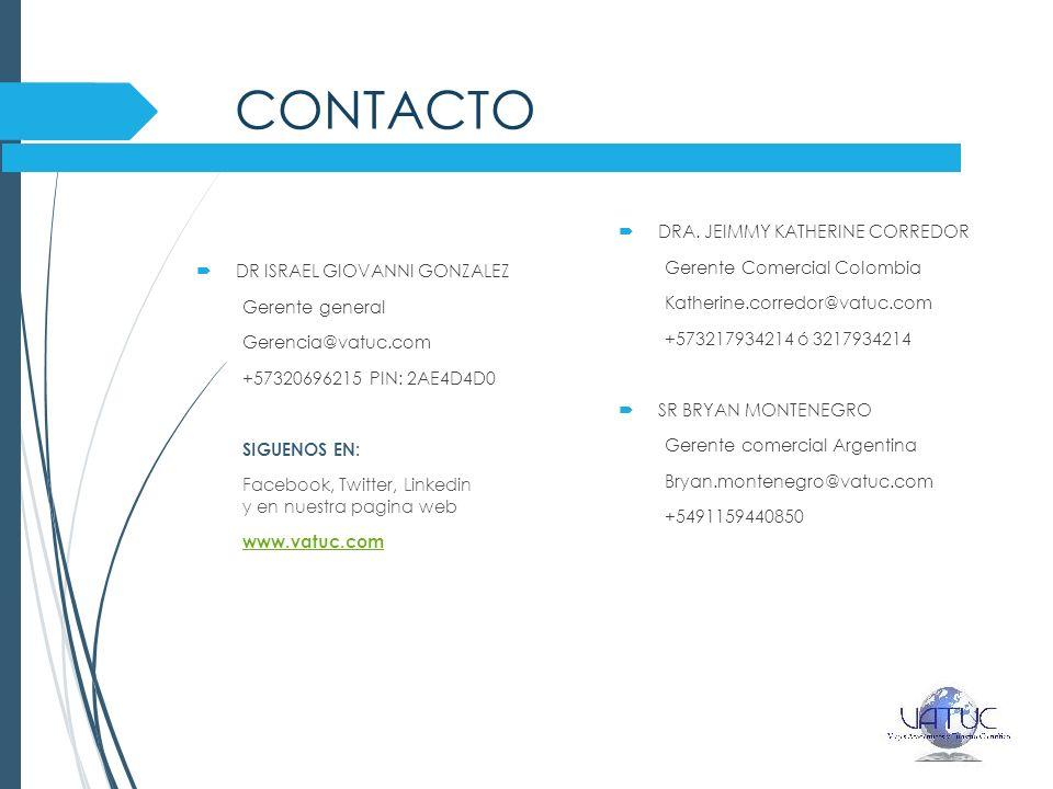 CONTACTO Dra. jeimmy KATHERINE CORREDOR Gerente Comercial Colombia
