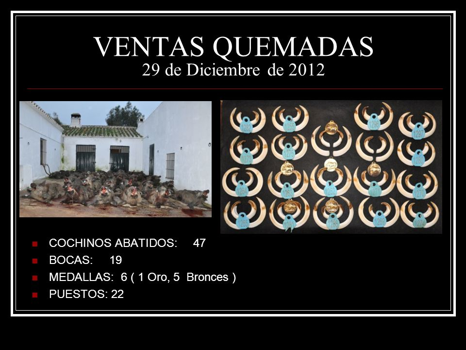 VENTAS QUEMADAS 29 de Diciembre de 2012