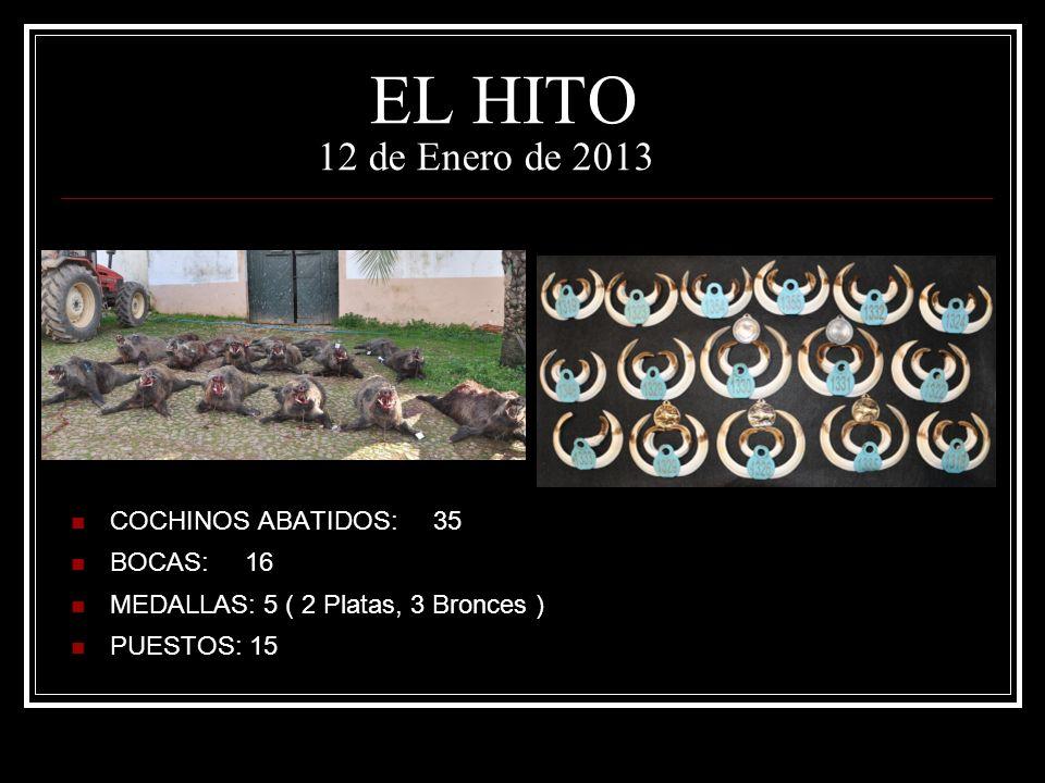 EL HITO 12 de Enero de 2013 COCHINOS ABATIDOS: 35 BOCAS: 16