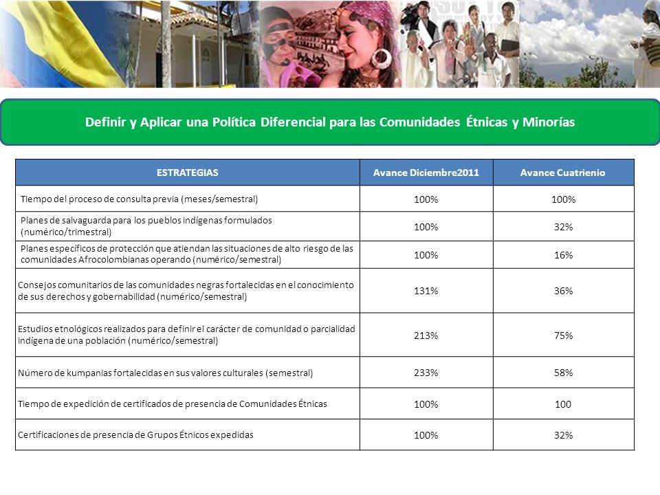 Definir y Aplicar una Política Diferencial para las Comunidades Étnicas y Minorías