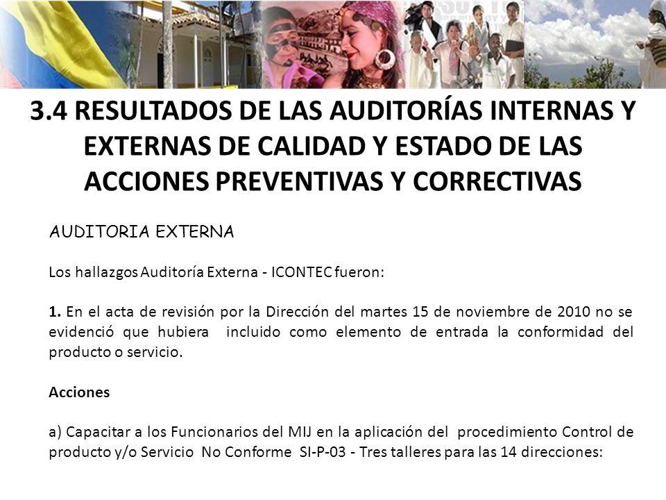 3.4 RESULTADOS DE LAS AUDITORÍAS INTERNAS Y EXTERNAS DE CALIDAD Y ESTADO DE LAS ACCIONES PREVENTIVAS Y CORRECTIVAS