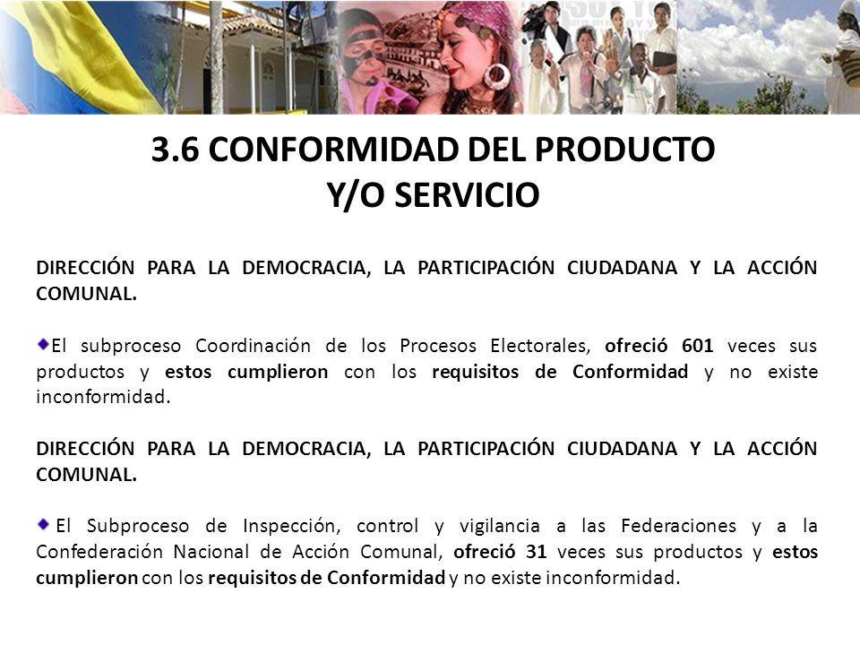 3.6 CONFORMIDAD DEL PRODUCTO Y/O SERVICIO