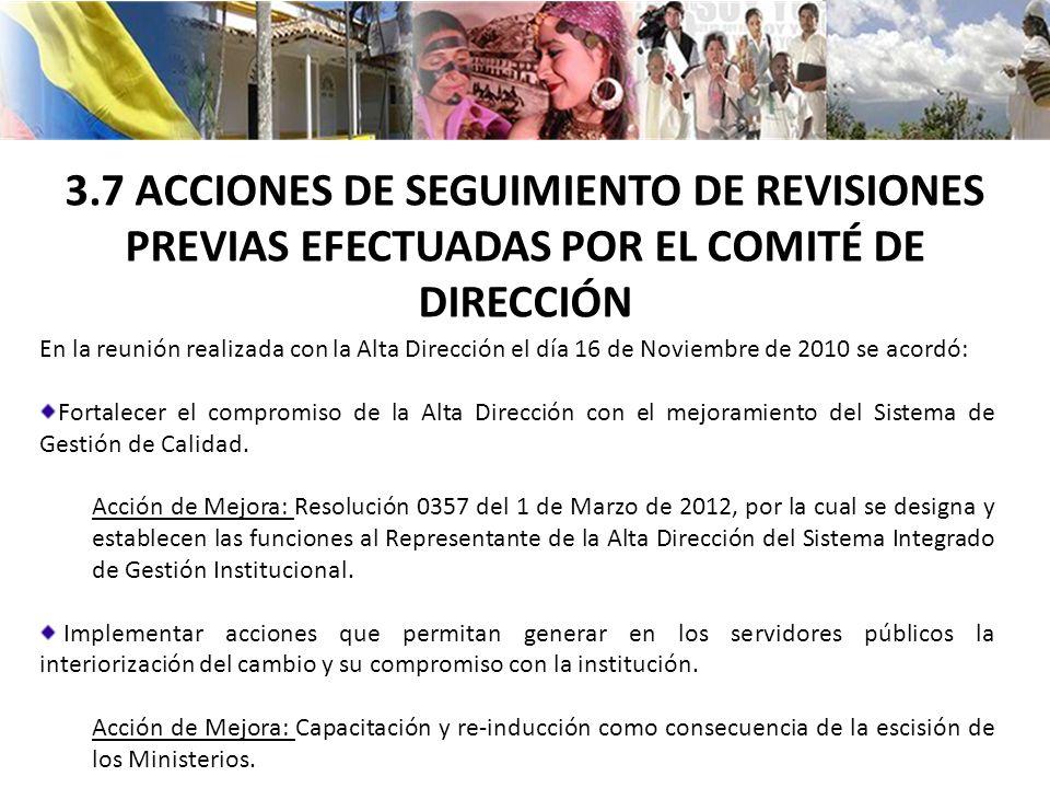 3.7 ACCIONES DE SEGUIMIENTO DE REVISIONES PREVIAS EFECTUADAS POR EL COMITÉ DE DIRECCIÓN
