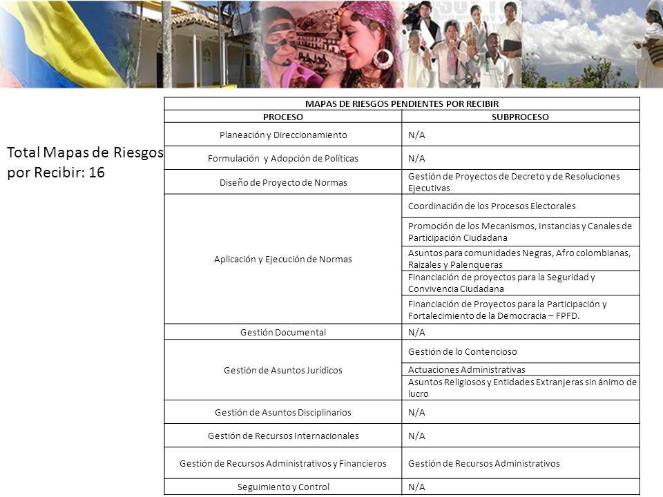 MAPAS DE RIESGOS PENDIENTES POR RECIBIR