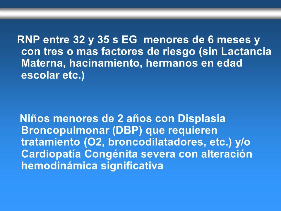 RNP entre 32 y 35 s EG menores de 6 meses y con tres o mas factores de riesgo (sin Lactancia Materna, hacinamiento, hermanos en edad escolar etc.)