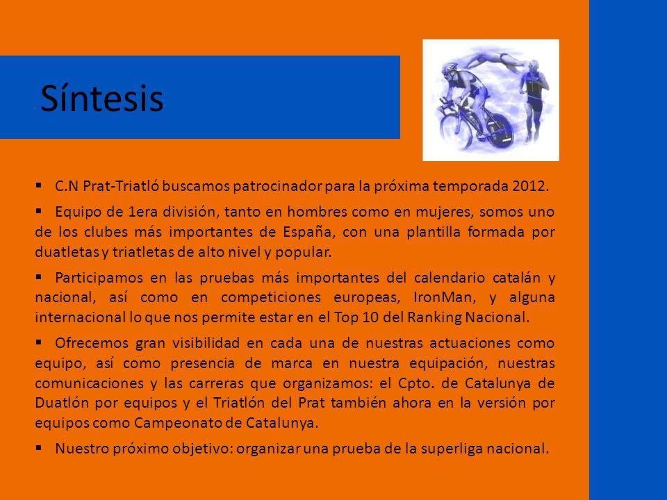 Síntesis C.N Prat-Triatló buscamos patrocinador para la próxima temporada 2012.