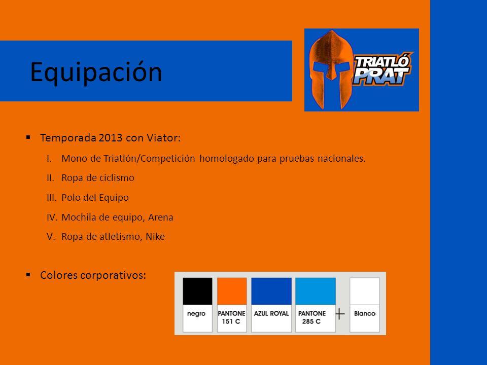Equipación Temporada 2013 con Viator: Colores corporativos: