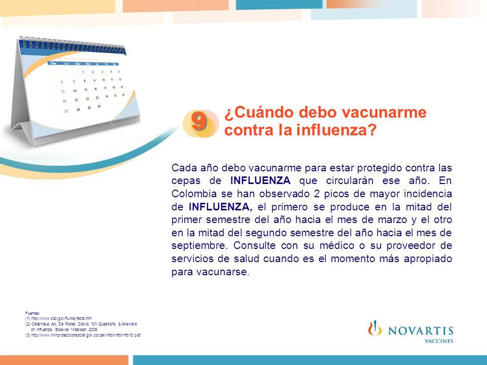 9 ¿Cuándo debo vacunarme contra la influenza