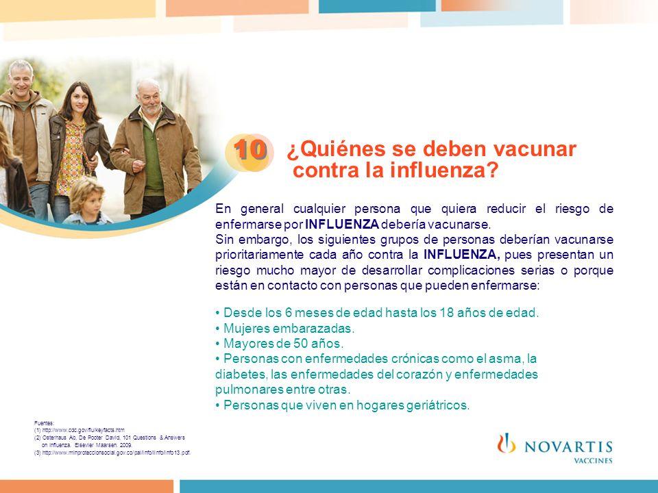 10 ¿Quiénes se deben vacunar contra la influenza