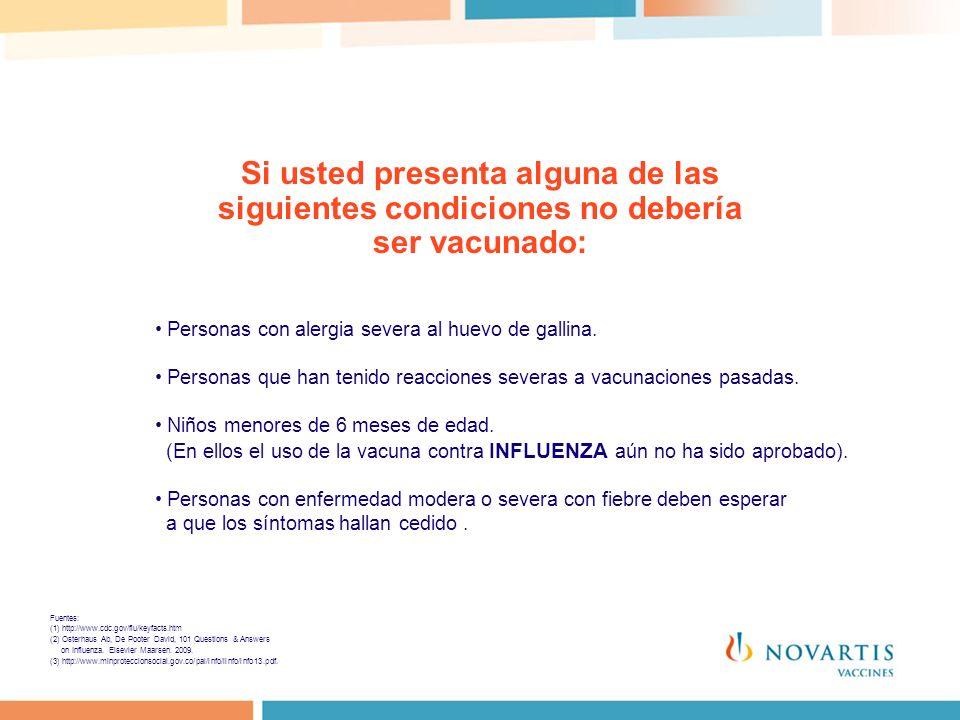 Si usted presenta alguna de las siguientes condiciones no debería ser vacunado: