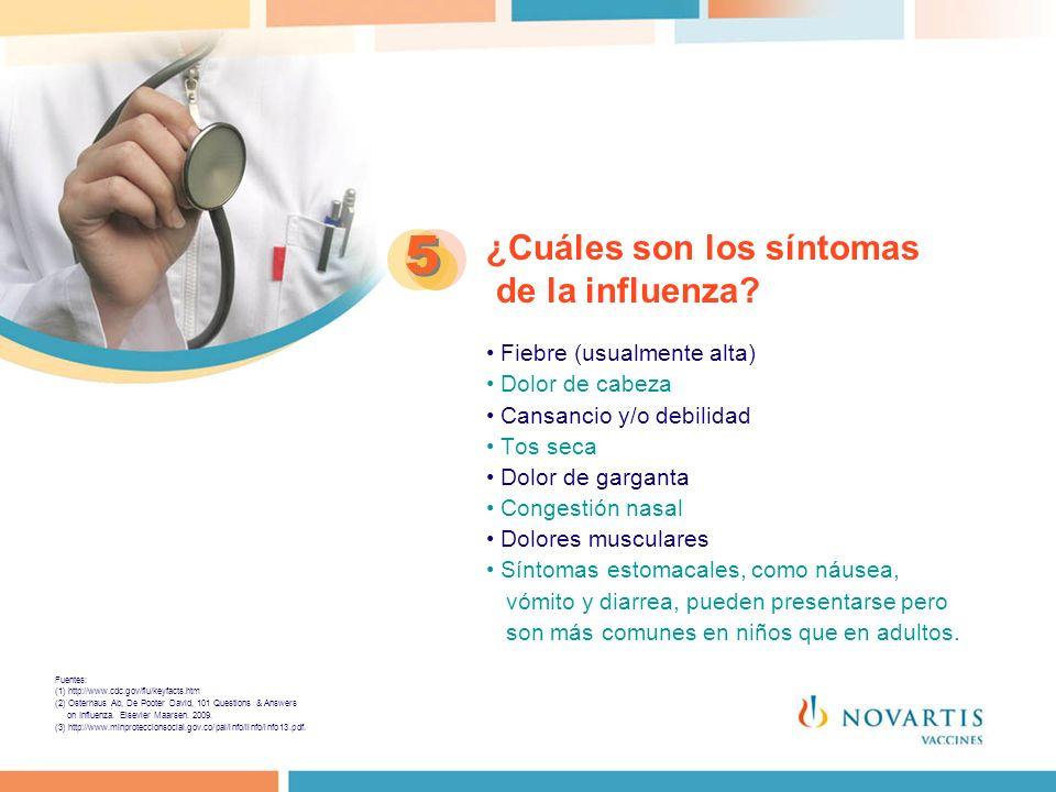 5 ¿Cuáles son los síntomas de la influenza • Fiebre (usualmente alta)