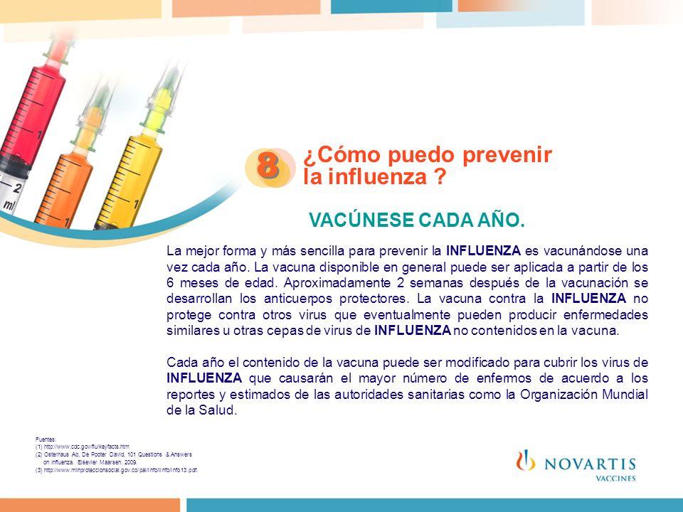 8 ¿Cómo puedo prevenir la influenza VACÚNESE CADA AÑO.