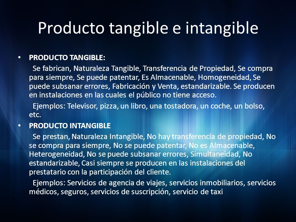 Producto tangible e intangible