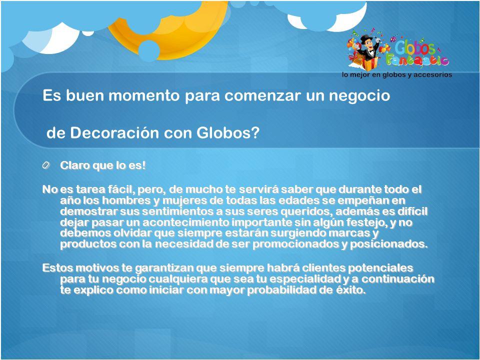 Es buen momento para comenzar un negocio de Decoración con Globos