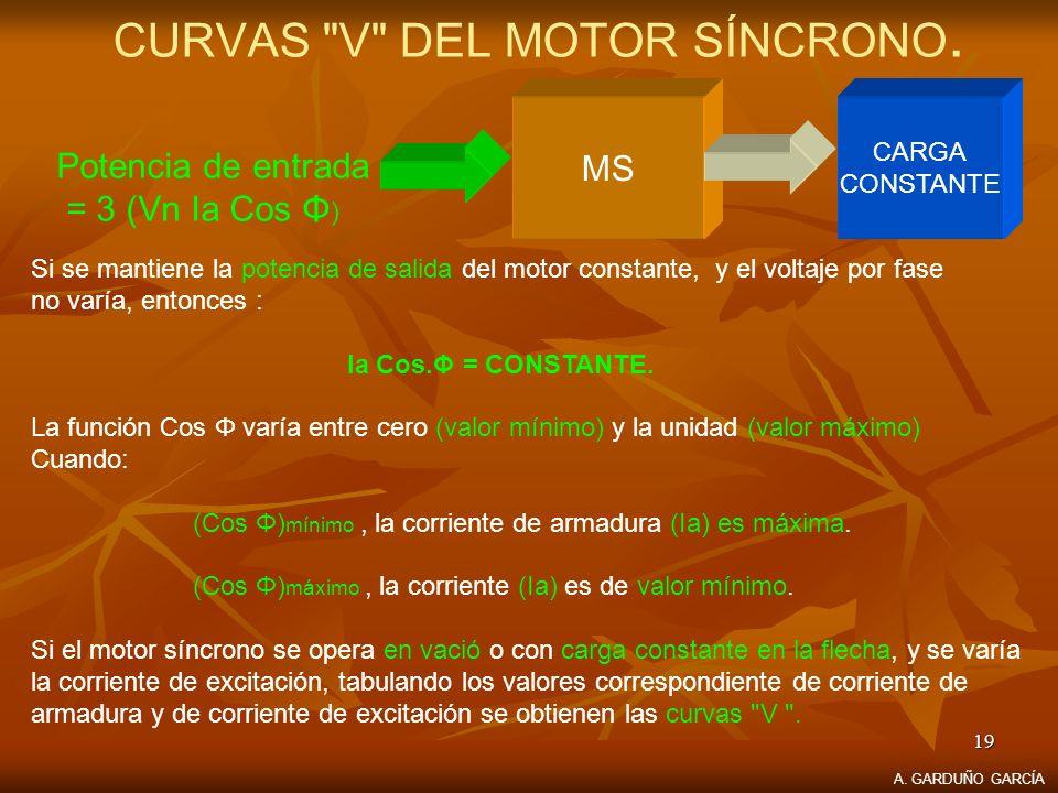 CURVAS V DEL MOTOR SÍNCRONO.