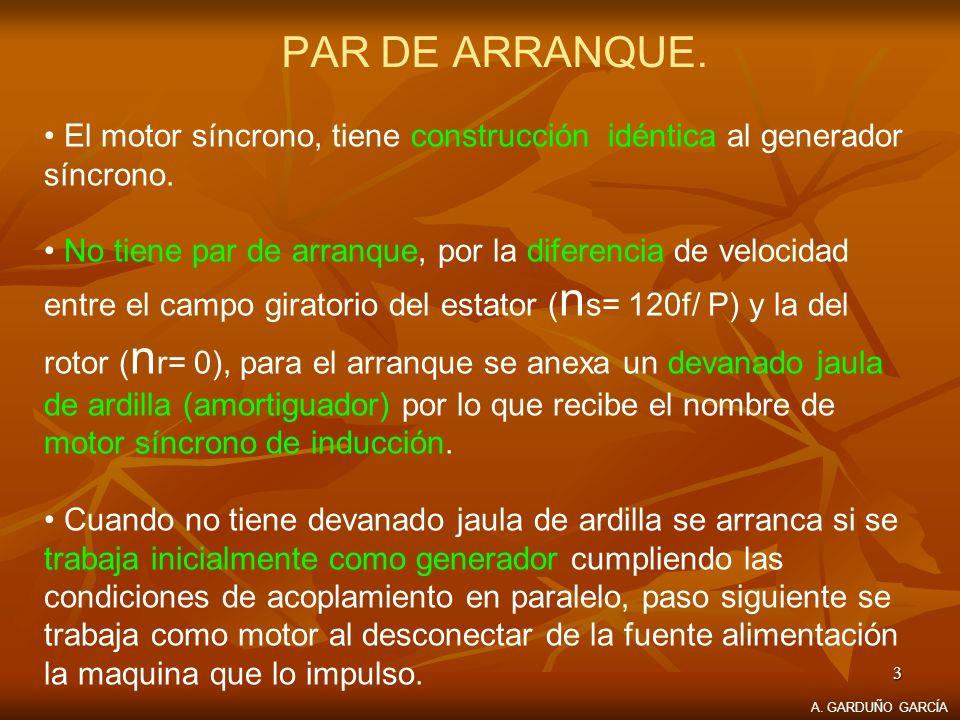 PAR DE ARRANQUE. El motor síncrono, tiene construcción idéntica al generador síncrono.