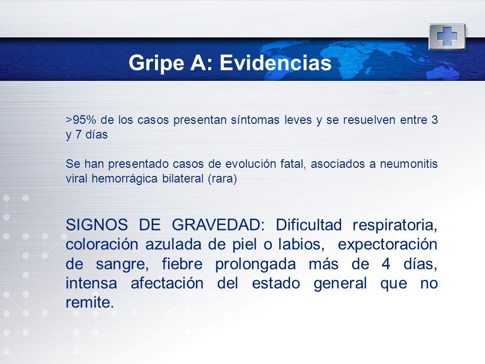 Gripe A: Evidencias >95% de los casos presentan síntomas leves y se resuelven entre 3 y 7 días.