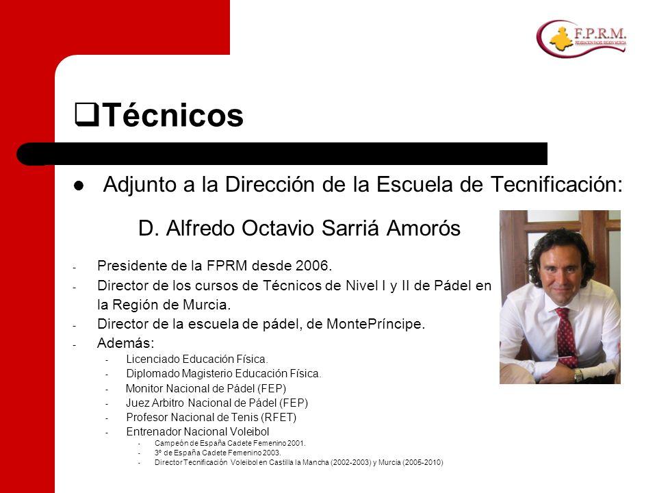Técnicos Adjunto a la Dirección de la Escuela de Tecnificación: