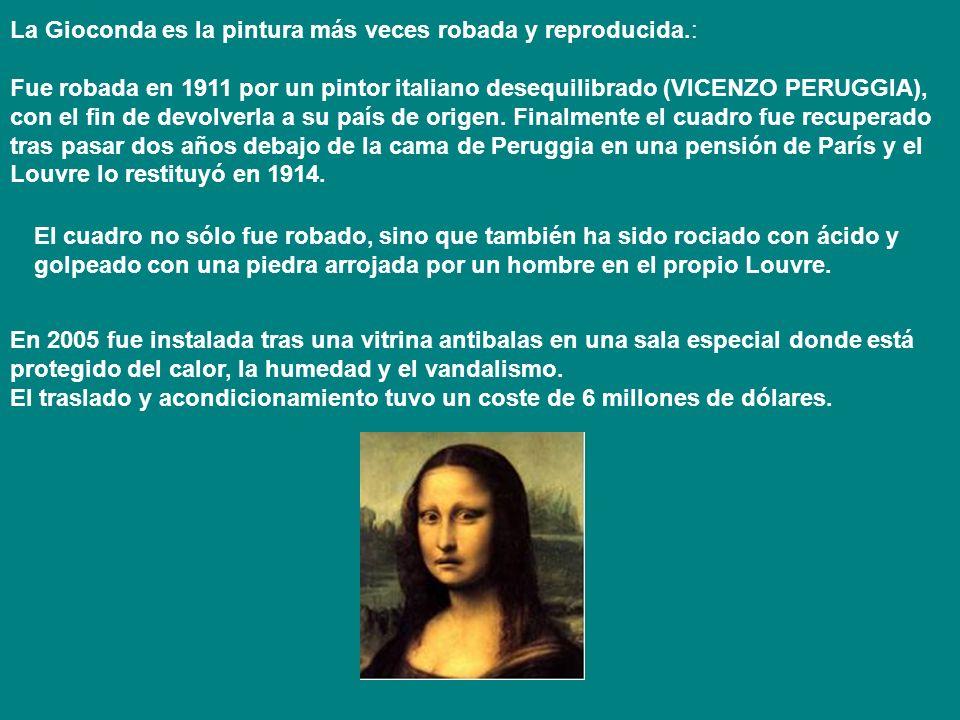 La Gioconda es la pintura más veces robada y reproducida.: