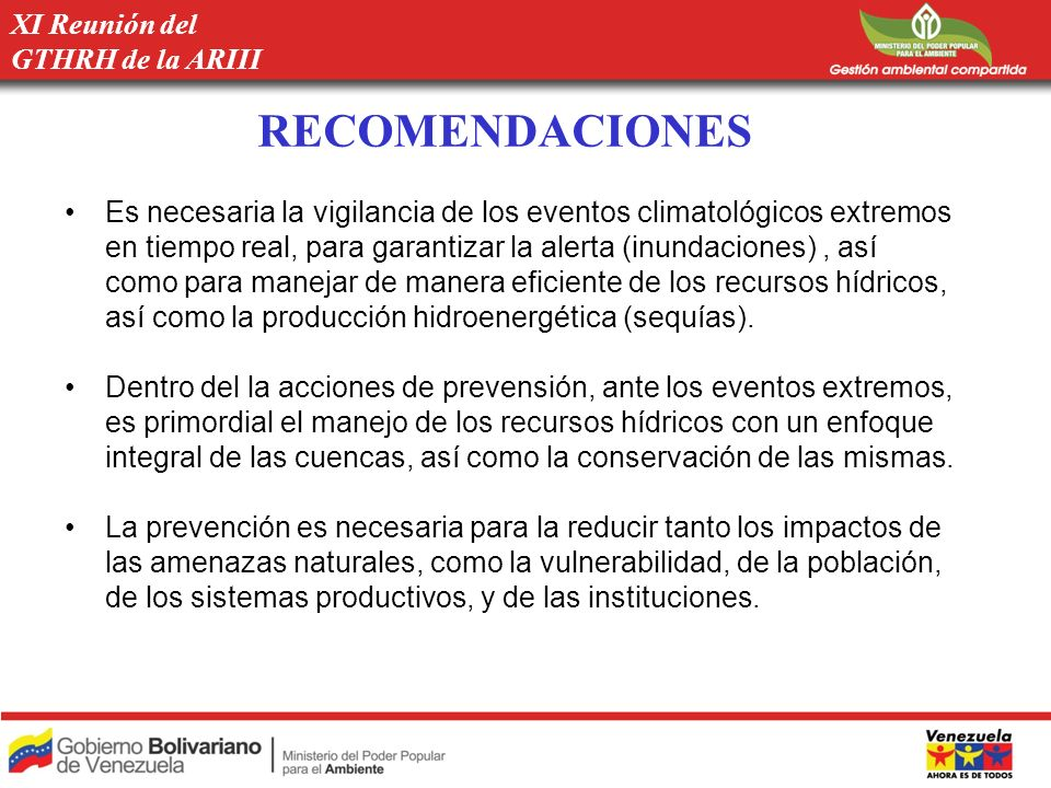 RECOMENDACIONES XI Reunión del GTHRH de la ARIII
