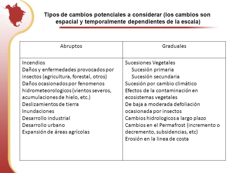 Tipos de cambios potenciales a considerar (los cambios son espacial y temporalmente dependientes de la escala)