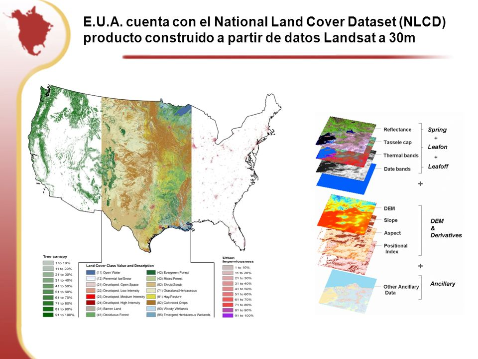 E.U.A. cuenta con el National Land Cover Dataset (NLCD)