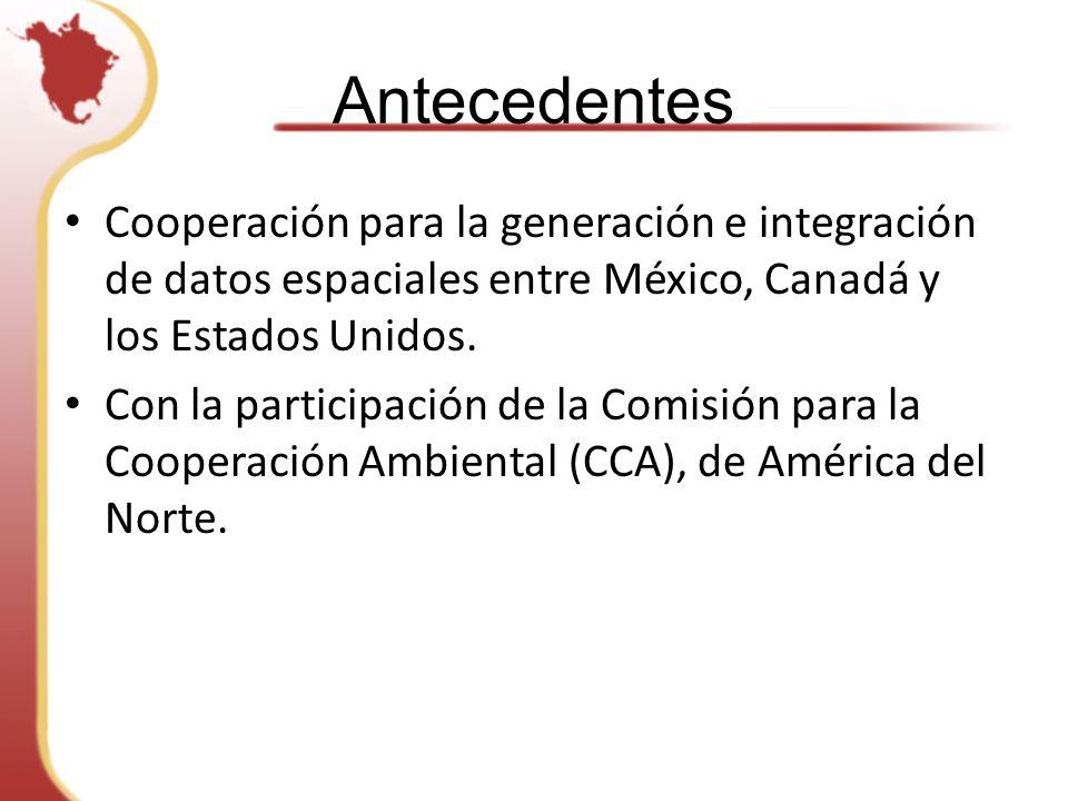 Antecedentes Cooperación para la generación e integración de datos espaciales entre México, Canadá y los Estados Unidos.