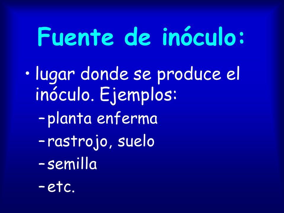 Fuente de inóculo: lugar donde se produce el inóculo. Ejemplos: