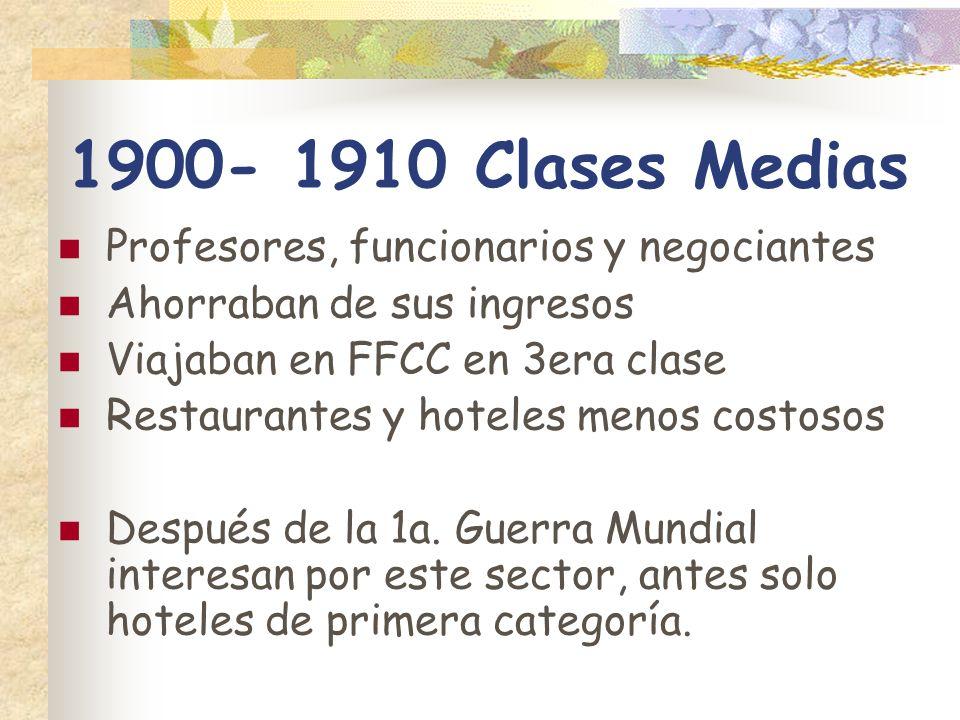 1900- 1910 Clases Medias Profesores, funcionarios y negociantes