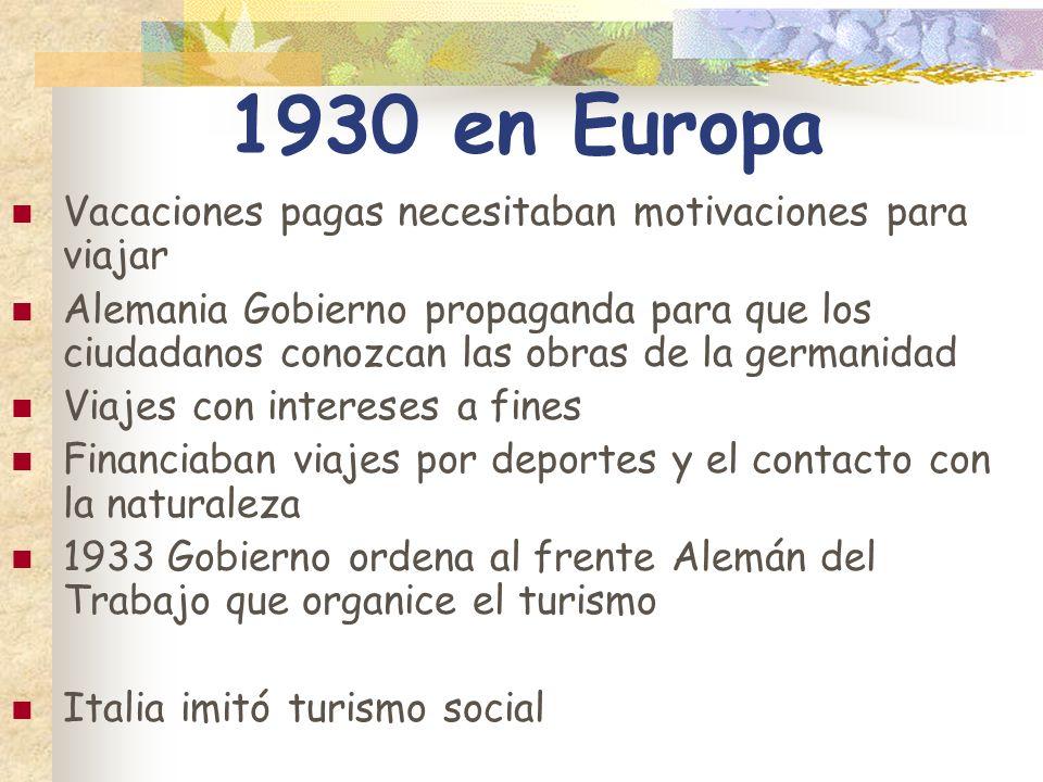 1930 en Europa Vacaciones pagas necesitaban motivaciones para viajar