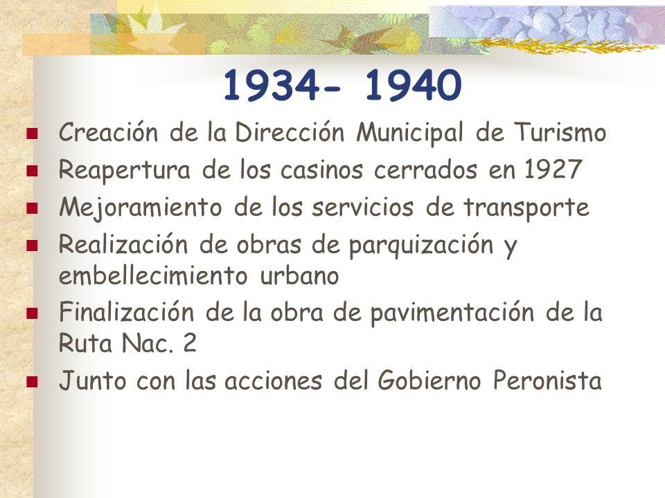 1934- 1940 Creación de la Dirección Municipal de Turismo