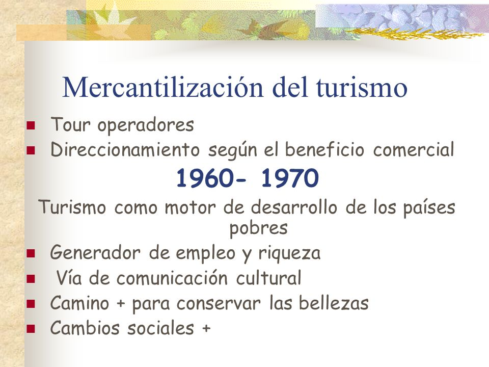 Mercantilización del turismo