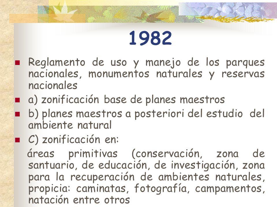 1982 Reglamento de uso y manejo de los parques nacionales, monumentos naturales y reservas nacionales.