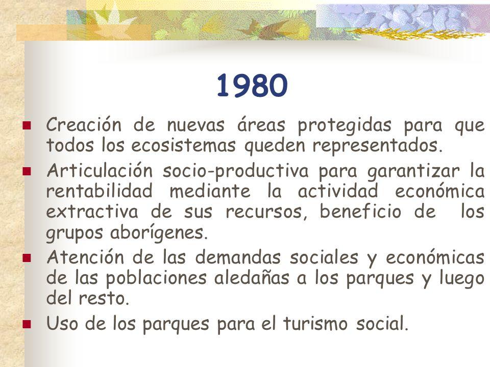 1980 Creación de nuevas áreas protegidas para que todos los ecosistemas queden representados.